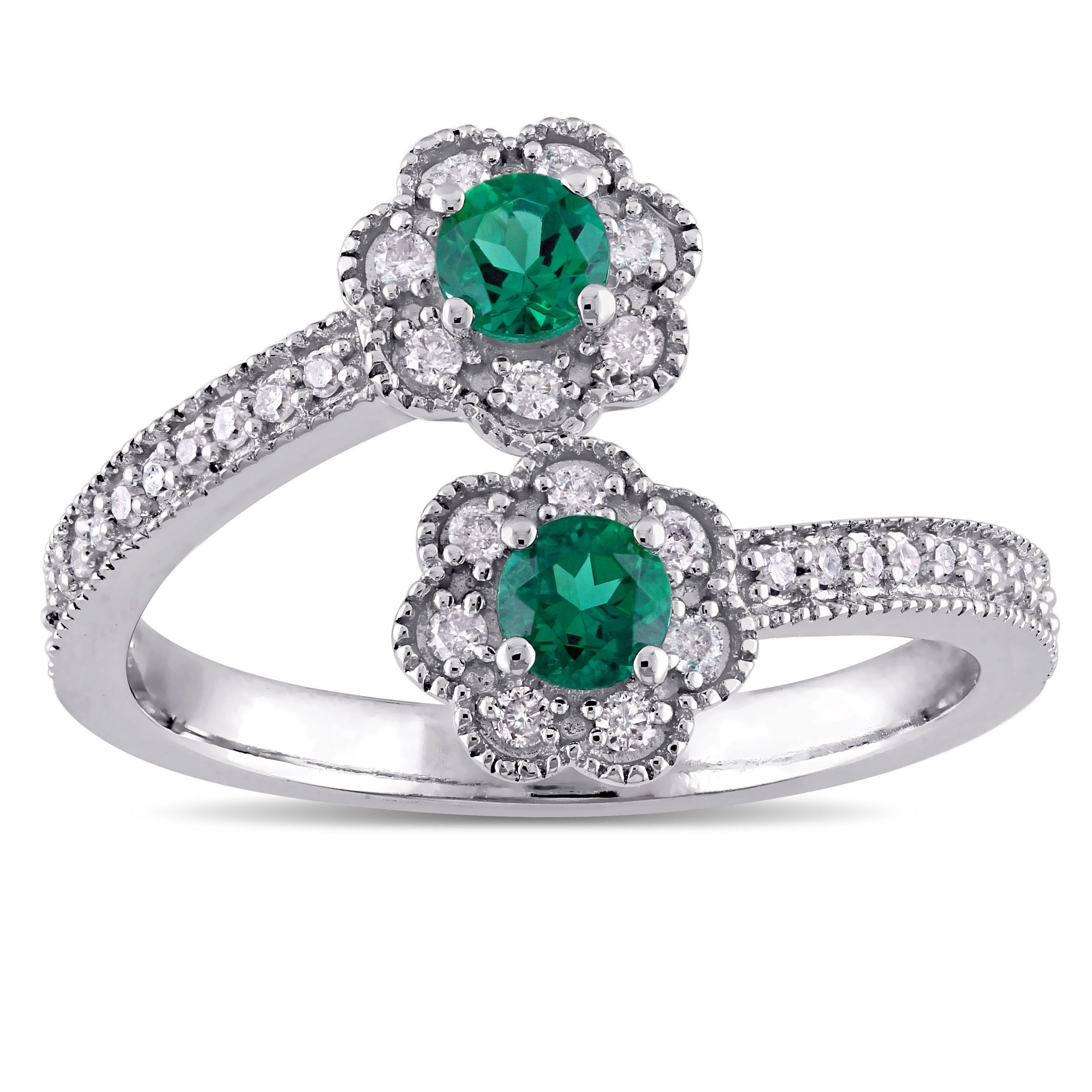 Laura Ashley 10k White Gold Created Emerald and 1/5ct TDW...
