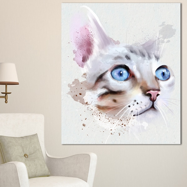 Designart 'Cat with Blue Eyes Watercolor' Modern Animal Canvas Wall Art