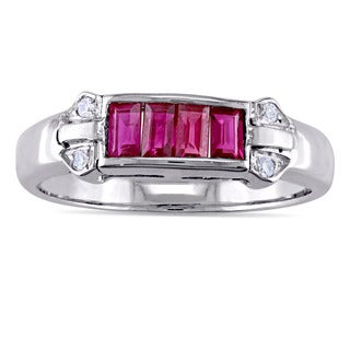 Miadora Baguette-Cut Ruby and 1/2ct TDW Diamond 4-Stone Ring in 18k White Gold (G-H, I1-I2)