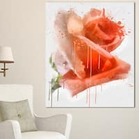 Designart 'Red Rose Painting with Splashes' Floral Canvas Artwork Print - Red