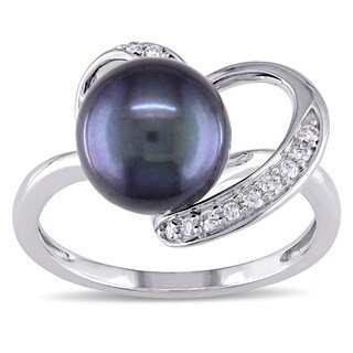 Miadora 10k White Gold Cultured Freshwater Black Pearl and 1/10ct TDW Diamond Open Heart Ring (G-H, I2-I3) (8-8.5mm)