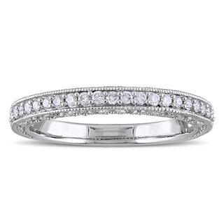 Laura Ashley 10k White Gold 1/4ct TDW Diamond Semi-Eternity Wedding Band