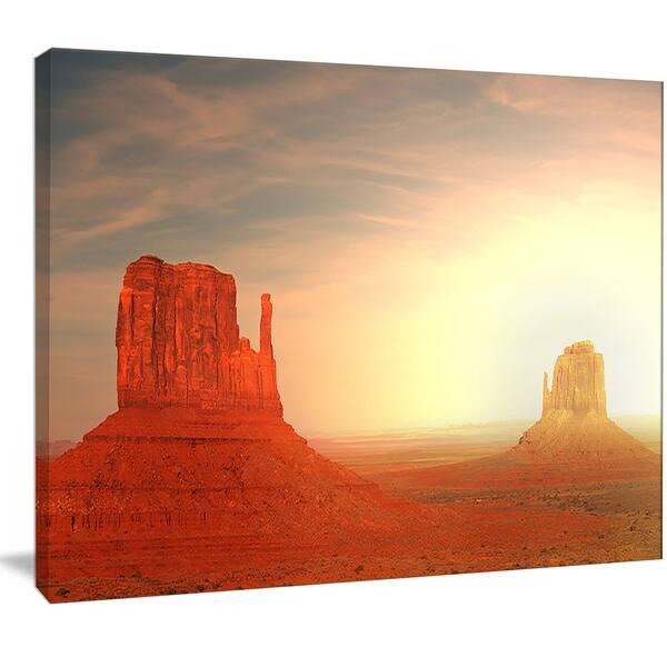 Designart Monument Valley Utah Usa Landscape Art Print Canvas Orange Overstock 13134307