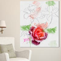 Designart 'Beautiful Rose with Rose Sketches' Floral Canvas Artwork Print - White