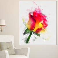 Designart 'Red Hand-drawn Rose Watercolor' Flowers Canvas Wall Artwork - Red