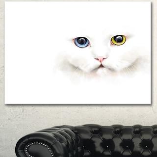 Designart 'Portrait of Cute White Kitten' Large Animal Canvas Artwork