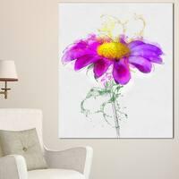 Designart 'Purple Daisy Flower with Stem' Flowers Canvas Wall Artwork - Purple