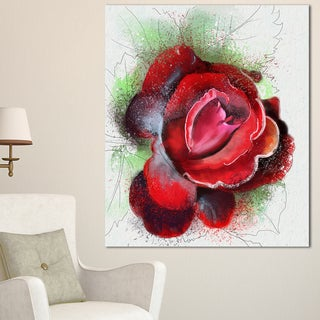 Designart 'Beautiful Red Rose with Green Shade' Floral Canvas Artwork Print