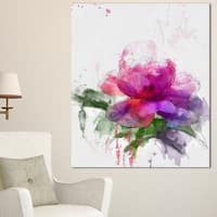 Designart 'Purple Peony Illustration Sketch' Flowers Canvas Wall Artwork - Purple