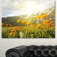 Designart 'Mountain Pasture with Yellow Flowers' Modern Flower Canvas Art Print