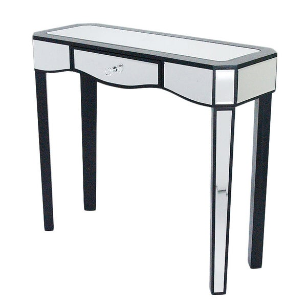 Elizabeth wood 1 drawer console table with mirror free shipping today 19863125 - Mirrored console table overstock ...