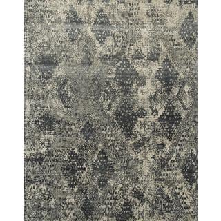 Hand Knotted Classic Gray/Medium Gray Contemporary Pattern Rug (9' X 12')