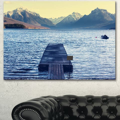 Designart 'Lake in Glacier National Park' Large Seashore Canvas Print - Blue