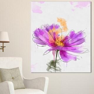 Designart 'Purple Flower Watercolor Illustration' Flowers Canvas Wall Artwork