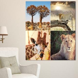 Designart 'African Safari Wildlife Collage ' African Landscape Art Print Canvas