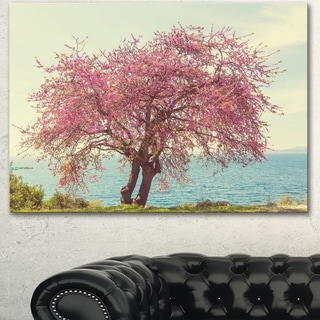 Designart 'Pink Flowers on Lonely Tree' Landscape Art Print Canvas