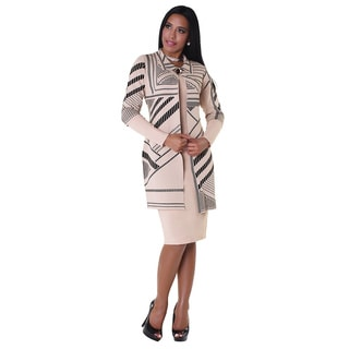 Kayla Collection Women's Black/ Beige Knitted 3/4 Length Printed Dress Suit