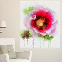 Designart 'Poppy with Green Watercolor Splashes' Floral Canvas Artwork Print