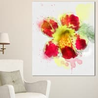Designart 'Flower Watercolor with Color Splashes' Floral Canvas Artwork Print - Red