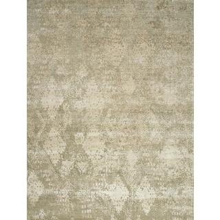 Hand Knotted Linen/White Sand Contemporary Pattern Rug (9' X 12')