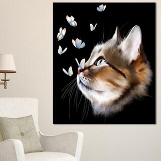 Designart 'Cat with Butterflies on Black' Modern Animal Canvas Wall Art