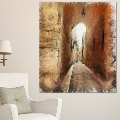 Designart 'Brown Old City Street Drawing' Landscape Canvas Wall Art - Brown