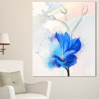 Designart 'Beautiful Blue Flower Watercolor' Floral Canvas Artwork Print