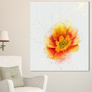 Designart 'Beautiful Yellow Watercolor Flower' Floral Canvas Artwork Print