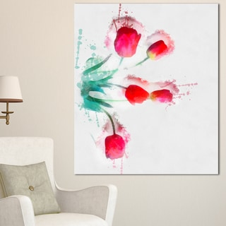 Designart 'Bunch of Red Tulips Watercolor' Extra Large Floral Canvas Art