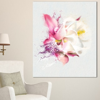 Designart 'Pink Rose Watercolor Illustration' Floral Canvas Artwork Print