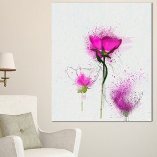 Designart 'Watercolor Purple Daisy Flowers ' Floral Canvas Artwork Print