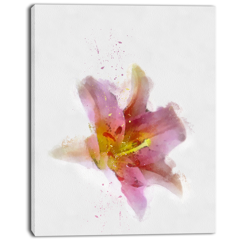Designart Watercolor Pink Lily Flower Sketch Floral Canvas Artwork Print Overstock 13134551