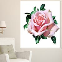 Designart 'Watercolor Rose with Green Leaves' Floral Canvas Artwork Print