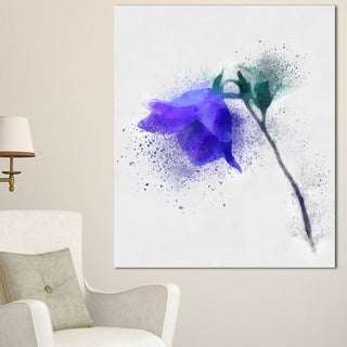 Designart 'Blue Flower Stem with Color Splashes' Extra Large Floral Canvas Art