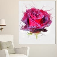 Designart 'Watercolor Dark Red Rose Sketch' Floral Canvas Artwork Print