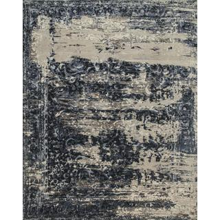 Hand Knotted Marine Blue/Soft Gray Contemporary Pattern Rug (8' X 10')
