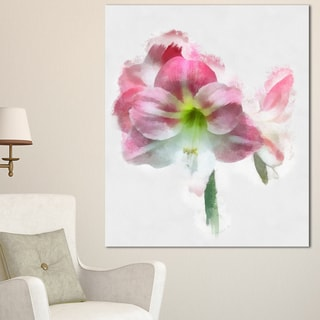 Designart 'Pink Lily Flowers on White Sketch' Extra Large Floral Canvas Art