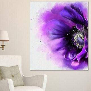 Designart 'Purple Stylized Watercolor Poppy' Floral Canvas Artwork Print - Purple