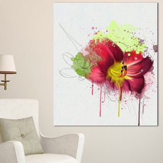 Designart 'Red Lily with Green Paint Splashes' Extra Large Floral Canvas Art