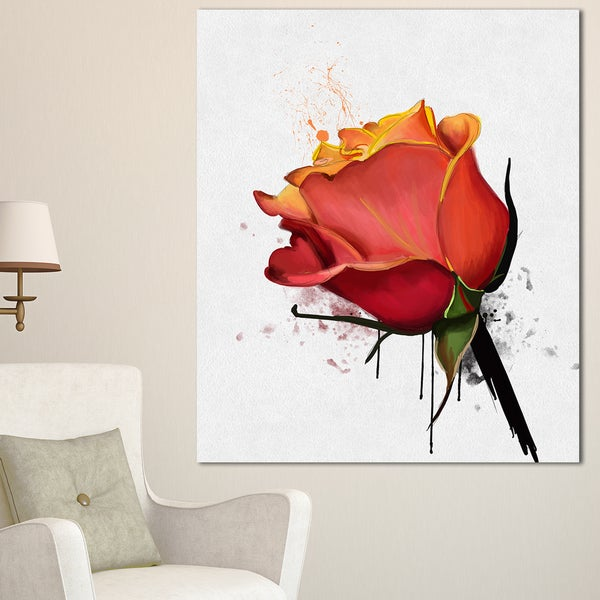 Designart 'Isolated Red Rose Watercolor Sketch' Extra Large Floral Canvas Art