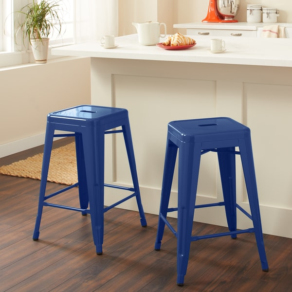 Shop 24 Inch Navy Metal Counter Stools Set Of 2 Free