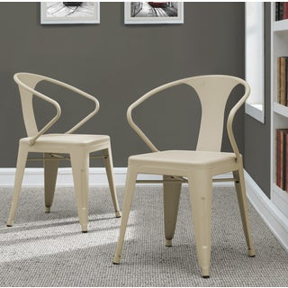 Tabouret Cream Metal Stacking Chairs (Set of 4)