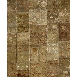 Patchwork Gray Brown Transitional Patchwork Pattern Rug (9'10 X 13'2)