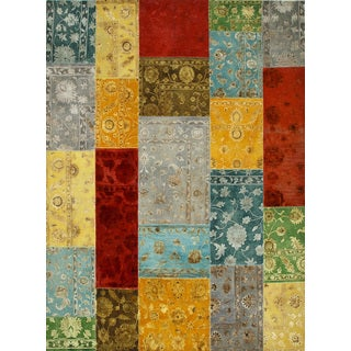 Patchwork Light Turquoise/Mix Transitional Patchwork Pattern Rug (8' X 10')