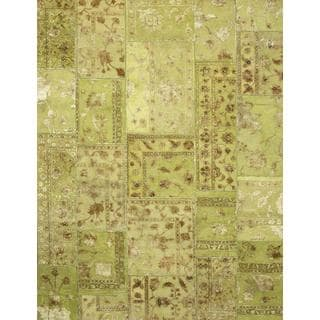 Patchwork Lime Green Transitional Patchwork Pattern Rug (9'10 X 13'2)
