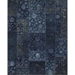 Patchwork Medieval Blue Transitional Patchwork Pattern Rug (8'3 X 11'6)