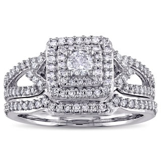 Laura Ashley 14k White Gold 2/3ct TDW Diamond Square Double Halo Split Shank Bridal Ring Set (G-H, I1-I2)