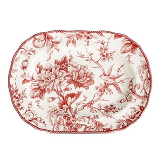 222 Fifth Adelaide Maroon Porcelain 14-inch Oval-shaped Platter
