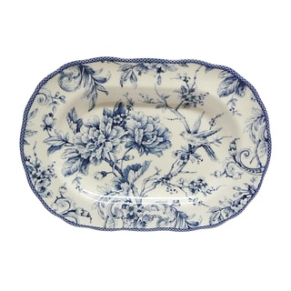 222 Fifth Adelaide Blue Porcelain 14-inch Oval Platter
