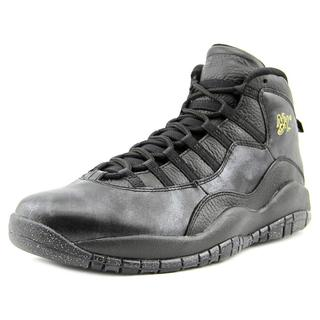 Jordan Men's 'Air Jordan Retro 10' Black Faux-leather Athletic Shoes